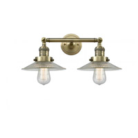Innovations Lighting 208-AB-G2 Halophane 2 Light 18 inch Antique Brass Bathroom Fixture Wall Light