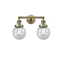Innovations Lighting 208-AB-G204-6 Beacon 2 Light 17 inch Antique Brass Bathroom Fixture Wall Light