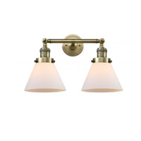 Innovations Lighting 208-AB-G41 Large Cone 2 Light 18 inch Antique Brass Bath Vanity Light Wall Light Franklin Restoration