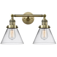 Innovations Lighting 208-AB-G42-LED Large Cone LED 18 inch Antique Brass Bath Vanity Light Wall Light Franklin Restoration