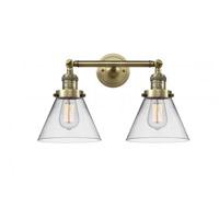 Innovations Lighting 208-AB-G42 Large Cone 2 Light 18 inch Antique Brass Bath Vanity Light Wall Light Franklin Restoration