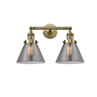 Innovations Lighting 208-AB-G43 Large Cone 2 Light 18 inch Antique Brass Bath Vanity Light Wall Light Franklin Restoration