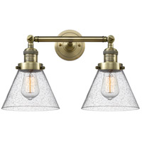 Innovations Lighting 208-AB-G44-LED Large Cone LED 18 inch Antique Brass Bath Vanity Light Wall Light Franklin Restoration