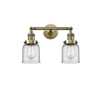 Innovations Lighting 208-AB-G52 Small Bell 2 Light 16 inch Antique Brass Bathroom Fixture Wall Light