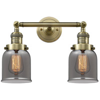 Innovations Lighting 208-AB-G53-LED Small Bell LED 16 inch Antique Brass Bathroom Fixture Wall Light