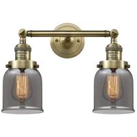 Innovations Lighting 208-AB-G53-LED Small Bell LED 16 inch Antique Brass Bath Vanity Light Wall Light Franklin Restoration