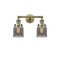 Innovations Lighting 208-AB-G53 Small Bell 2 Light 16 inch Antique Brass Bathroom Fixture Wall Light