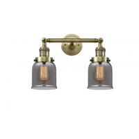 Innovations Lighting 208-AB-G53 Small Bell 2 Light 16 inch Antique Brass Bathroom Fixture Wall Light