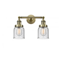 Innovations Lighting 208-AB-G54 Small Bell 2 Light 16 inch Antique Brass Bath Vanity Light Wall Light Franklin Restoration