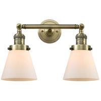 Innovations Lighting 208-AB-G61-LED Small Cone LED 16 inch Antique Brass Bath Vanity Light Wall Light Franklin Restoration