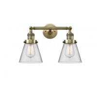 Innovations Lighting 208-AB-G62 Small Cone 2 Light 16 inch Antique Brass Bath Vanity Light Wall Light Franklin Restoration