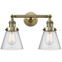 Innovations Lighting 208-AB-G64-LED Small Cone LED 16 inch Antique Brass Bathroom Fixture Wall Light
