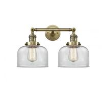 Innovations Lighting 208-AB-G72 Large Bell 2 Light 19 inch Antique Brass Bath Vanity Light Wall Light Franklin Restoration