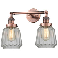 Innovations Lighting 208-AC-G142-LED Chatham LED 16 inch Antique Copper Bathroom Fixture Wall Light