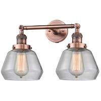 Innovations Lighting 208-AC-G172-LED Fulton LED 17 inch Antique Copper Bath Vanity Light Wall Light Franklin Restoration
