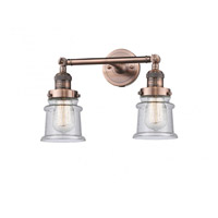 Innovations Lighting 208-AC-G184S-LED Small Canton LED 17 inch Antique Copper Bath Vanity Light Wall Light Franklin Restoration