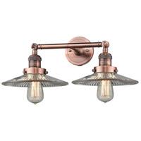 Innovations Lighting 208-AC-G2-LED Halophane LED 18 inch Antique Copper Bath Vanity Light Wall Light Franklin Restoration