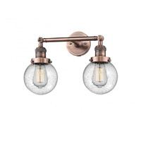 Innovations Lighting 208-AC-G204-6 Beacon 2 Light 17 inch Antique Copper Bathroom Fixture Wall Light