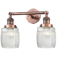 Innovations Lighting 208-AC-G302-LED Colton LED 16 inch Antique Copper Bathroom Fixture Wall Light
