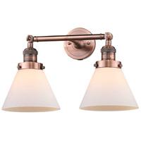 Innovations Lighting 208-AC-G41-LED Large Cone LED 18 inch Antique Copper Bath Vanity Light Wall Light Franklin Restoration