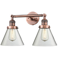 Innovations Lighting 208-AC-G42-LED Large Cone LED 18 inch Antique Copper Bath Vanity Light Wall Light Franklin Restoration