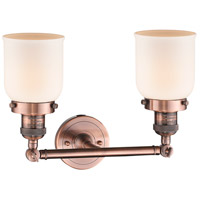 Innovations Lighting 208-AC-G51-LED Small Bell LED 16 inch Antique Copper Bath Vanity Light Wall Light, Franklin Restoration alternative photo thumbnail