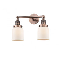 Innovations Lighting 208-AC-G51-LED Small Bell LED 16 inch Antique Copper Bath Vanity Light Wall Light, Franklin Restoration photo thumbnail