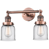 Innovations Lighting 208-AC-G52-LED Small Bell LED 16 inch Antique Copper Bathroom Fixture Wall Light