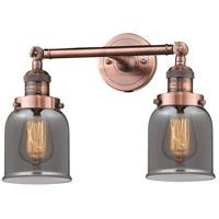 Innovations Lighting 208-AC-G53-LED Small Bell LED 16 inch Antique Copper Bath Vanity Light Wall Light Franklin Restoration