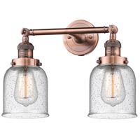 Innovations Lighting 208-AC-G54-LED Small Bell LED 16 inch Antique Copper Bathroom Fixture Wall Light