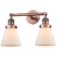 Innovations Lighting 208-AC-G61-LED Small Cone LED 16 inch Antique Copper Bath Vanity Light Wall Light Franklin Restoration