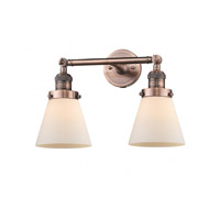 Innovations Lighting 208-AC-G61-LED Small Cone LED 16 inch Antique Copper Bath Vanity Light Wall Light Franklin Restoration