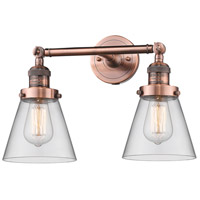 Innovations Lighting 208-AC-G62-LED Small Cone LED 16 inch Antique Copper Bath Vanity Light Wall Light Franklin Restoration