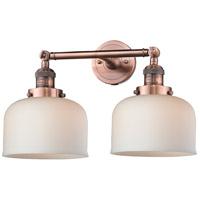 Innovations Lighting 208-AC-G71-LED Large Bell LED 19 inch Antique Copper Bath Vanity Light Wall Light Franklin Restoration