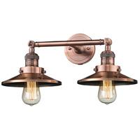 Innovations Lighting 208-AC-M3-LED Railroad LED 18 inch Antique Copper Bath Vanity Light Wall Light Franklin Restoration