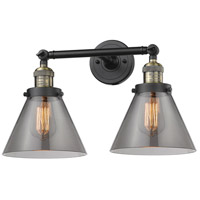 Innovations Lighting 208-BAB-G43-LED Large Cone LED 18 inch Black Antique Brass Bathroom Fixture Wall Light