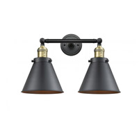 Innovations Lighting 208-BAB-M13-BK Appalachian 2 Light 18 inch Black Antique Brass Bath Vanity Light Wall Light Franklin Restoration