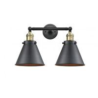 Innovations Lighting 208-BAB-M13-BK Appalachian 2 Light 18 inch Black Antique Brass Bath Vanity Light Wall Light Franklin Restoration