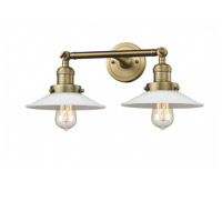 Innovations Lighting 208-BB-G1 Halophane 2 Light 18 inch Brushed Brass Bath Vanity Light Wall Light Franklin Restoration