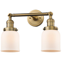 Innovations Lighting 208-BB-G51-LED Small Bell LED 16 inch Brushed Brass Bathroom Fixture Wall Light