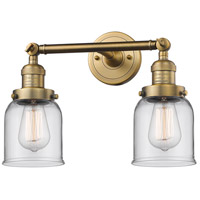 Innovations Lighting 208-BB-G52-LED Small Bell LED 16 inch Brushed Brass Bathroom Fixture Wall Light