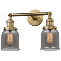 Innovations Lighting 208-BB-G53-LED Small Bell LED 16 inch Brushed Brass Bathroom Fixture Wall Light