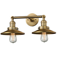 Innovations Lighting 208-BB-M4-LED Railroad LED 18 inch Brushed Brass Bathroom Fixture Wall Light