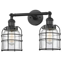 Innovations Lighting 208-BK-G52-CE Small Bell Cage 2 Light 16 inch Matte Black Bath Vanity Light Wall Light Franklin Restoration