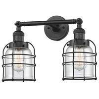 Innovations Lighting 208-BK-G52-CE-LED Small Bell Cage LED 16 inch Matte Black Bath Vanity Light Wall Light Franklin Restoration