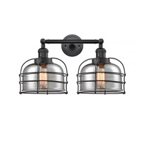 Innovations Lighting 208-BK-G73-CE Large Bell Cage 2 Light 19 inch Matte Black Bath Vanity Light Wall Light Franklin Restoration