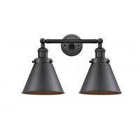 Innovations Lighting 208-BK-M13-BK Appalachian 2 Light 18 inch Matte Black Bath Vanity Light Wall Light Franklin Restoration