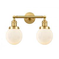 Innovations Lighting 208-SG-G201-6-LED Beacon LED 17 inch Satin Gold Bath Vanity Light Wall Light