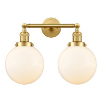 Innovations Lighting 208-SG-G201-8-LED Large Beacon LED 19 inch Satin Gold Bath Vanity Light Wall Light