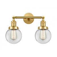 Innovations Lighting 208-SG-G202-6-LED Beacon LED 17 inch Satin Gold Bath Vanity Light Wall Light